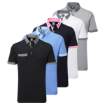 9924 Footjoy Smooth Pique with Houndstooth Collar